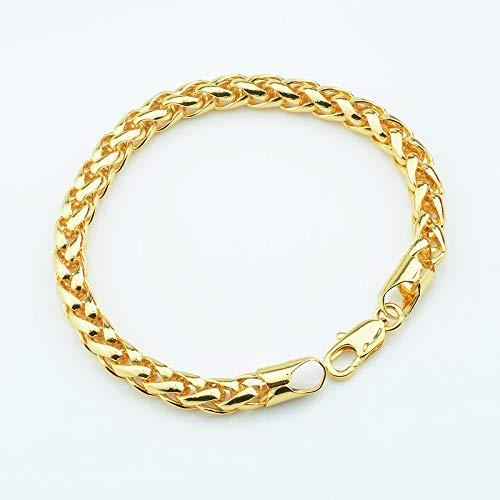 FOKLC Bracelet 1pcs 7mm Big Wide Mens Womens Yellow Gold Color Wheat Braid Chunky Bracelet Chain