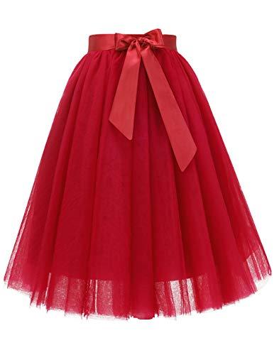 Bridesmay Women's Knee Length 5-Layered Tulle A-line Tutu