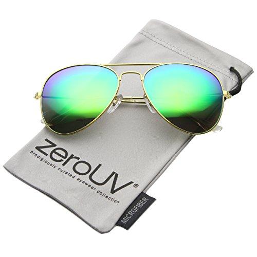 zeroUV - Premium Flash Mirror Lens Aviator Sunglasses (Nickel Plated Metal Frame) (Gold / Green Mirror)