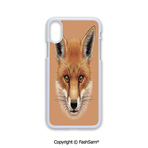 Plastic Rigid Mobile Phone case Compatible with iPhone X Black Edge Cute Fluffy Face of Forest Fox Young Baby Mammal Predator Canine Vixen Decorative 2D Print Hard Plastic Phone Case -