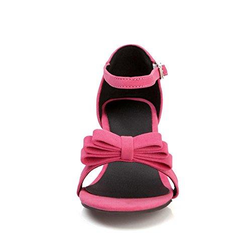 FANIMILA Mujer Moda Correa de Tobillo Mini Tacon Sandalias Bowtie Punta Abierta Zapatos Rosado