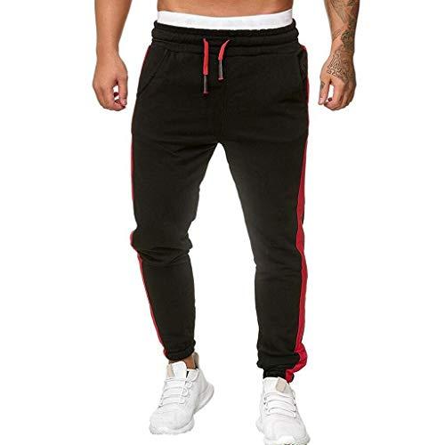 Seaintheson Men's Sport Pants Long Trousers Tracksuit Fitness Workout Joggers Sweatpants Black from Seaintheson