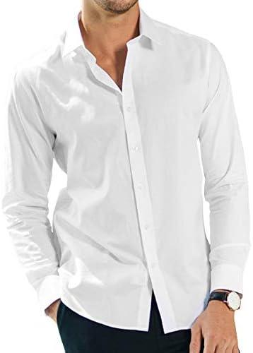 White Collar Men Office Work Shirt Long Sleeve Button Down Shirts Top Blouse New