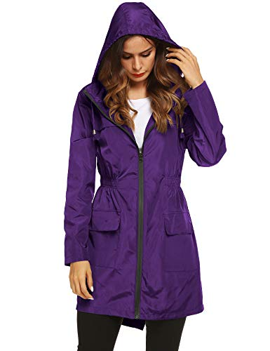 Long Sleeve Wind Jacket - LOMON Women Raincoat Packable and Lightweight for Travel Outdoor Hooded Waterproof Hiking Jacket Purple L