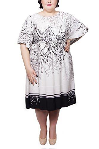 Scarlett & Jo - Robe - Kimono - Manches Courtes - Femme Ecru Off-White Multi