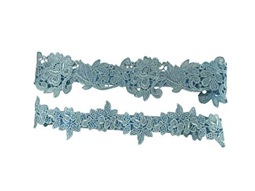 YuRongsxt Flower Leaf Style Garter Set Wedding Garter Set Bridal Garter G08 (Blue)