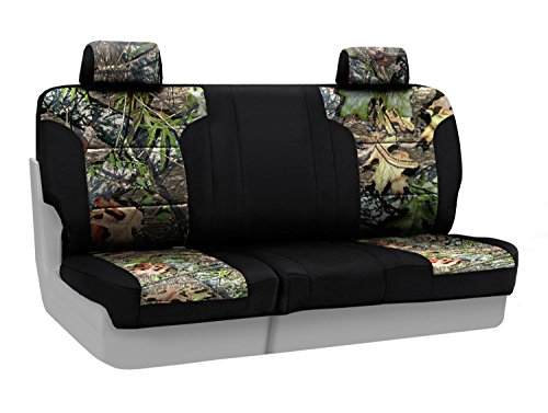 Coverking Rear Split Bench Custom Fit Seat Cover for Select Ford Models - Neosupreme (Mossy Oak Obsession Camo with Black Sides)