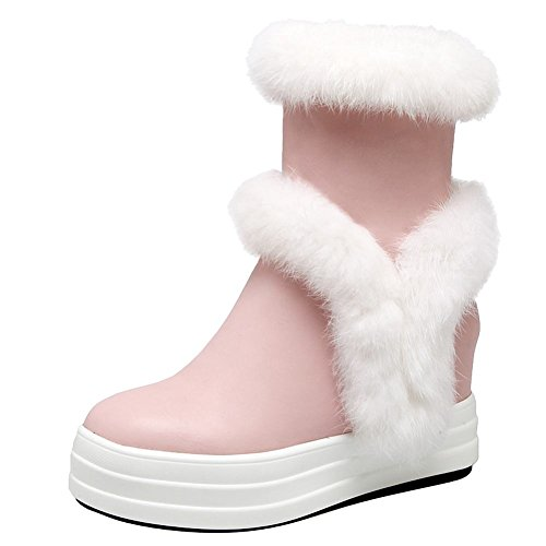 Piede Di Fascino Delle Donne Dolce Cerniera Tacco Alto Piattaforma Tallone Nascosta Stivali Da Neve Rosa
