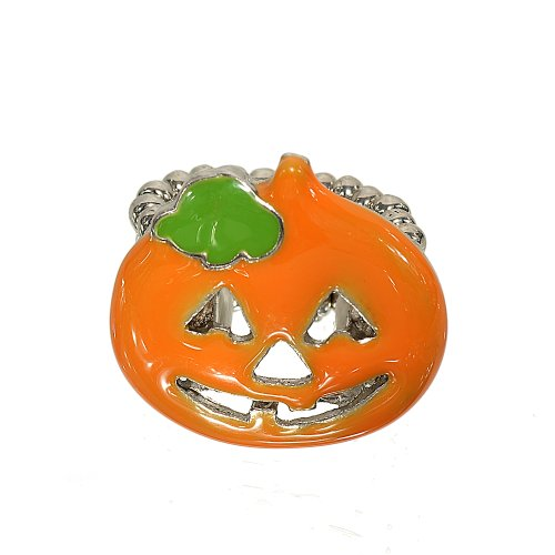 Face Stretch Fashion Ring (Orange Pumpkin Halloween Stretch Fashion Ring With Cutout Face Just Like a Real Carved Pumpkin)