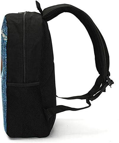 3Dキャットバックパック犬のパターンデニムスクールブックバッグ旅行バッグ YZUEYT