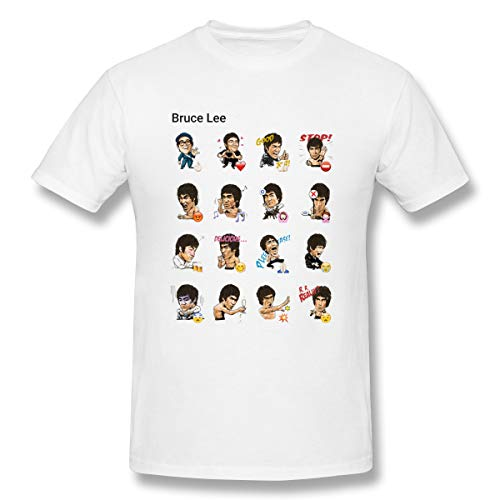 Jiacheng Personalized T-Shirts Casual Chinese Kung Fu Bruce Lee Short Sleeve T-Shirts for Men's White