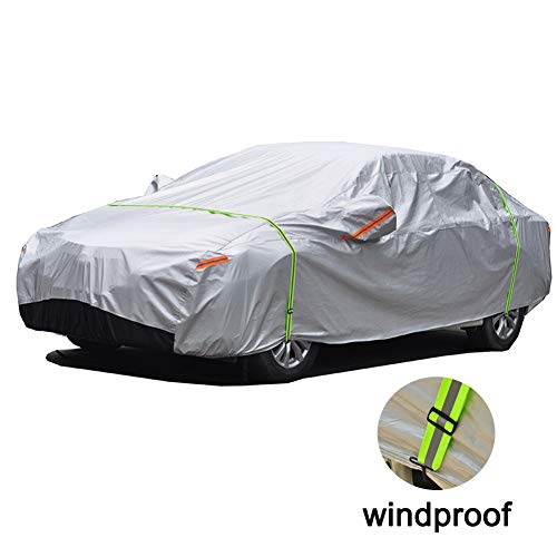 GUNHYI Windproof Car Covers Waterproof All Weather For Automobile, Snow Sun Rain UV Protective Outdoor, Fit Sedan (Length 180-191 Inch)