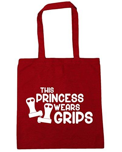 HippoWarehouse esta princesa lleva Grips gimnasia gimnasio playa bolsa de la compra bolsa 42cm x38cm, 10litros, gris grafito (gris) - 21428-TOTE-Graphite grey rojo clásico