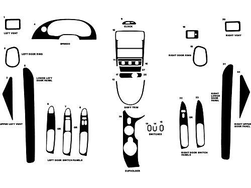 (Rdash Dash Kit Decal Trim for Ford Mustang 2001-2004 - Carbon Fiber 4D (Black))