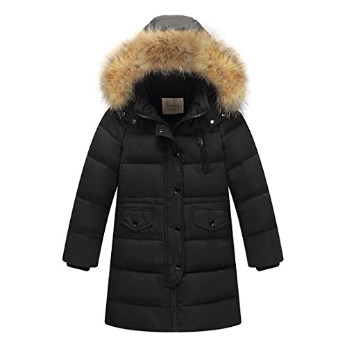 Unisex Kids Coats Quilted Down Puffer Jacket Parka Fur Hoodie Boys Outwear Girls Outfit Long Coat Winter Wear 5T 6T (Kids Unisex Hooded Jacket)