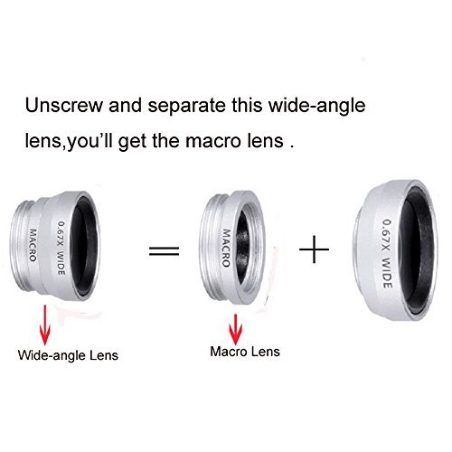 Apexel 4 in 1 Wide Angle Macro Lens + Fisheye Lens +12x ABS Telephoto Lens with Back Case Cover for Samsung Galaxy S7 Edge White/Silver