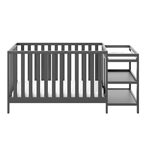 Storkcraft Pacific 4-in-1 Convertible Crib and Changer, Gray Easily Converts to Toddler Bed, Day Bed or Full Bed, 3 Position Adjustable Height Mattress (Child Of Mine Crib And Changing Table Combo)