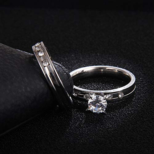 Amazon.com: JEWH Stainless Steel Wedding Ring for Lovers - Silver Color Crystal CZ Couple Rings Set Men Women - Engagement Wedding Rings - Sweet Valentines ...