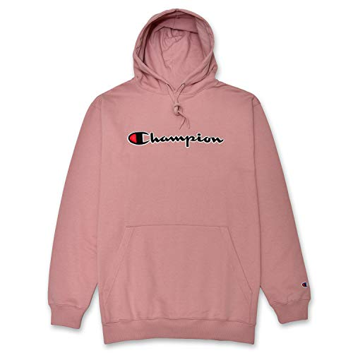 Champion Mens Big and Tall Hoodie Sweatshirt with Embroidered Script Logo Blush 6X