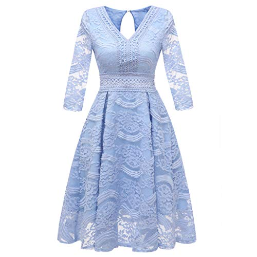 Lelili Women Elegant Party Dress Floral Lace Long Sleeve V Neck Pleated Swing A-Line Prom Wedding Dress Light Blue