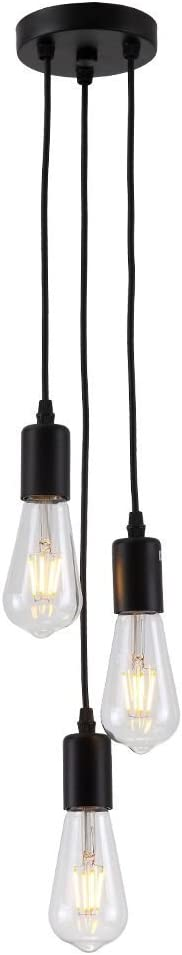 PIANUO Black Pendant Light 3 Heads E26 Vintage Classic Edison Lamps Adjustable DIY No Bulbs