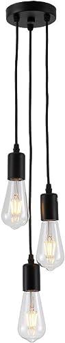 PIANUO Black Pendant Light 3 Heads E26 Vintage Classic Edison Lamps Adjustable DIY No Bulbs