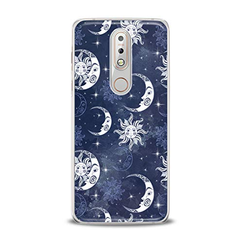 Lex Altern TPU Case for Nokia 9 PureView 8.1 Plus 7.1 6.1 X6 5.1 3.1 Celestial White Clear Moon Pattern Amazing Cover Soft Silicone Special Blue Print Protective Transparent Girly -