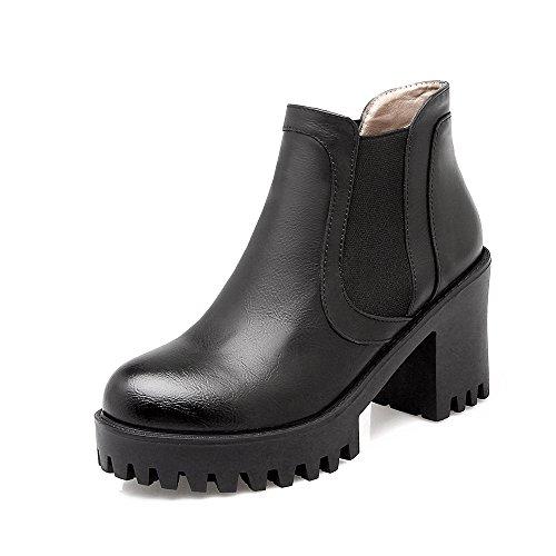 CXQ-Boots qin&X Women's Round Toe Block High Heels Short Ankle Boots Platform Shoes Black X0QgtNI57U