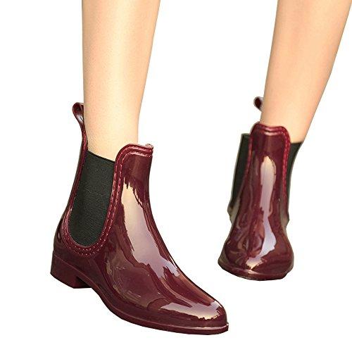Fereshte Unisex Coppia Donna Uomo Stivaletti Da Pioggia Caviglia Slip On Winter Chelsea Booties Con Goring Elastico No. 567 Vino Rosso