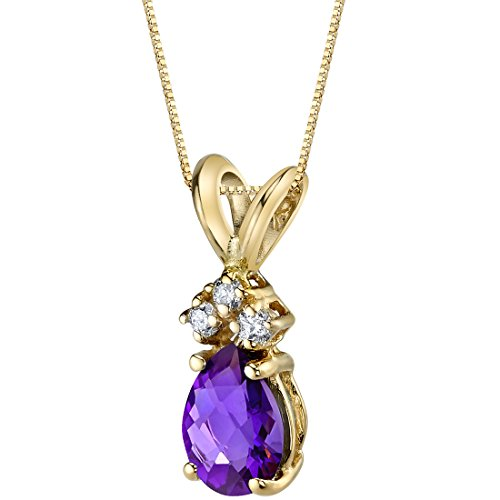 14 Karat Yellow Gold Pear Shape 0.50 Carats Amethyst Diamond Pendant ()
