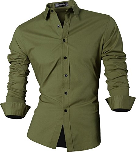 Sportrendy Mens Slim Fit Long Sleeves Casual Button Down Dress Shirts JZS046