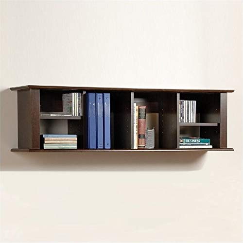 Pemberly Row Wall Hanging Bookcase in Espresso by Pemberly Row