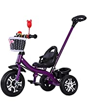 Trike Tricycle Trike Kids Tricycle with Pedal, 2 in 1 Multifunction Height Adjustable Outdoor Training Bicycle, for 1-6 Years Old Boys and Girls Birthday Gift, Removable Push Handlebar (Color : Blue