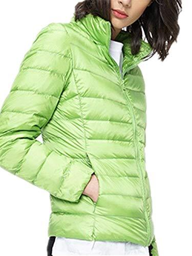 Lunga Invernali Outwear Elegante Piumino Ragazza Monocromo Di Manica Coreana Cappotto Grün Outerwear Chic Collo Moda Donna Tasche Laterali Con Cerniera Leggero Giacca Hot RfFwwqxYI