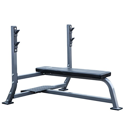 Akonza Olympic Bench Press with Spotter Stand Fitness Exercise Weight Flat Bench Training Lift, Gray Review