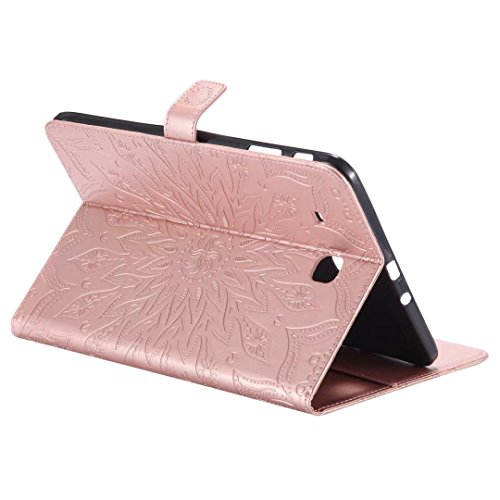 for Stand Flip T560 E Inner E Ougger Soft 9 6 Wallet Cover Tap Samsung Tap TPU T561 Case Leather inch Bumper PU Samsung 9 Case Premium Gold with Purple Rose Protective Blooming 6