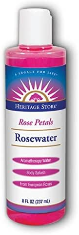 Heritage Store Rose Petals Rosewater Facial Toner & Moisturizer Helps Sensitive Skin, Hair & More Alcohol Free, 100% Pure Vegan 8 oz 3 Pk