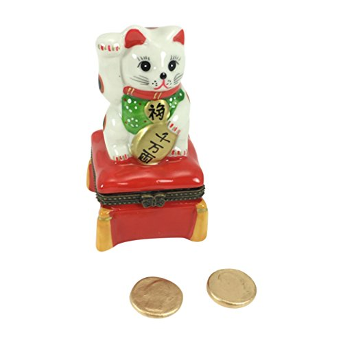 Japanese Maneki Neko Lucky Welcome Cat Porcelain Hinged Trinket Jewelry Box - Limoges Trinket Box Porcelain