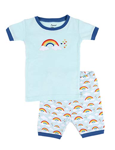(Leveret Kids Boys Girls Two Piece Pajamas Set 100% Cotton Short Summer Pajamas Blue Rainbow (8 Years))