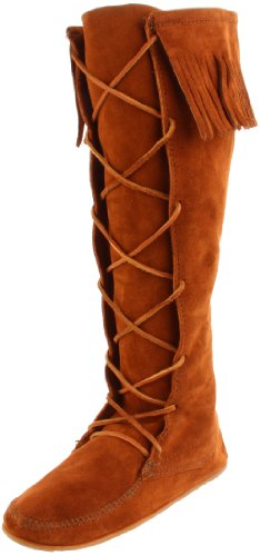 Minnetonka Women's Front Lace Knee-Hi Boot,Brown,7 M US