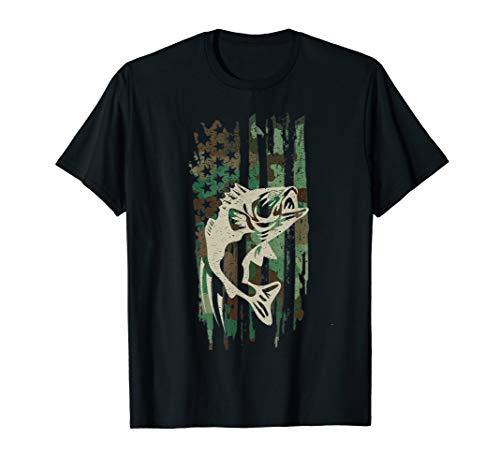 Camouflage American Flag Bass Fishing Gift T Shirt Tshirt