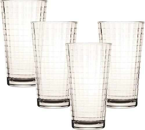 Circleware Windowpane Drinking Glasses, Set of 4, 17 oz, Clear