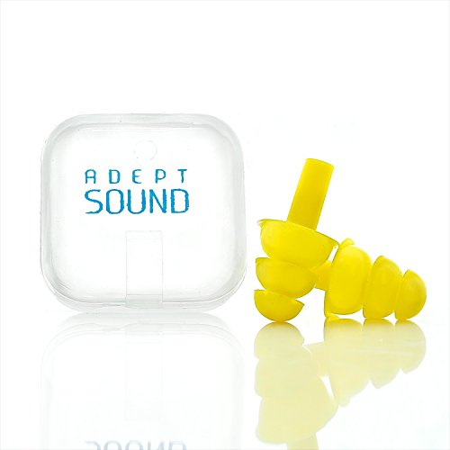 Ear Plugs Yellow Reduce Loud Noise For Sleeping, Concerts, Music Events, Shooting Range, Construction Work, Motor Sports Racing, Made Of Soft Hypoallergenic Silicone To Be Reusable & Comfortable by Adept Sound