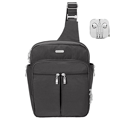 Baggallini RFID Sling Messenger Backpack Bundle with Complimentary Travel Earphones (Charcoal)