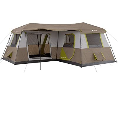Ozark Trail 16' x 16' Instant Cabin Tent Camping Outdoors Family Sleeps 12 Person 3 Queen Airbeds and 3 Rooms - Brown