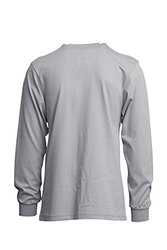 Lapco FR FRT-HJE Gry XL Flame Resistant Henley Tees, 100% Cotton Jersey Knit, HRC 2, NFPA 70E, 7 oz, X-Large, Gray