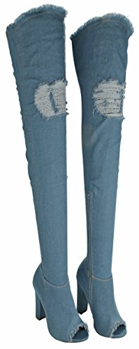 Women Limelight Fashion Vintage Frayed Denim Open Toe Thigh High Over Knee Chunky Heel Boots Blue kG9gD6W8
