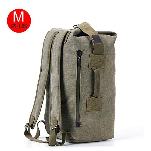 VastStarrySky-outdoorrecreationproduct Men's Military Canvas Backpacks Multi-Purpose Bucket Travel Bag Large Shoulder Bags Men Army Tourist Foldable Hand Bag XA1934C,Army Green M -