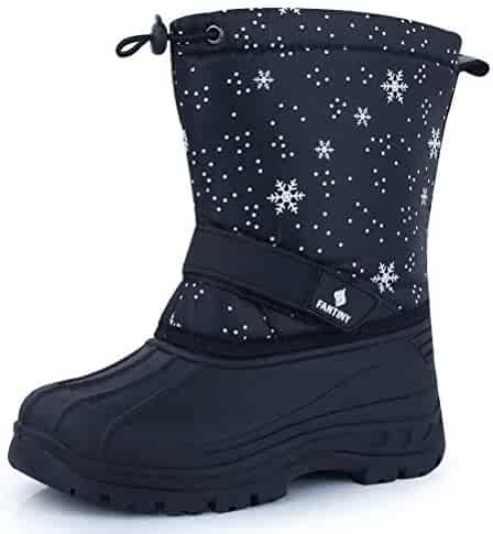 CIOR Fantiny Snow Boots Winter Outdoor Waterproof with Fur Lined for Girls & Boys (Toddler/Little Kid/Big Kid) TX1,snowblack,32