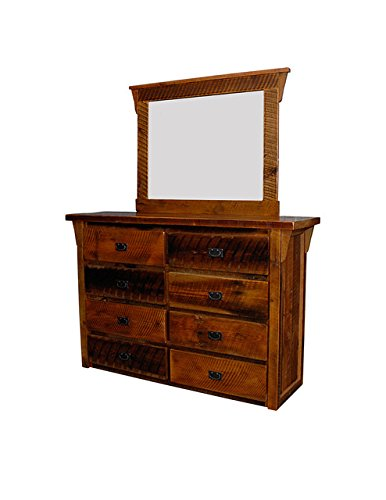 Amish Country Chest Of Drawers (Rustic Natural Reclaimed Barn Wood Dresser with Mirror Frame - 8 DrawersUrban Distress Stain Amish Made in USA)